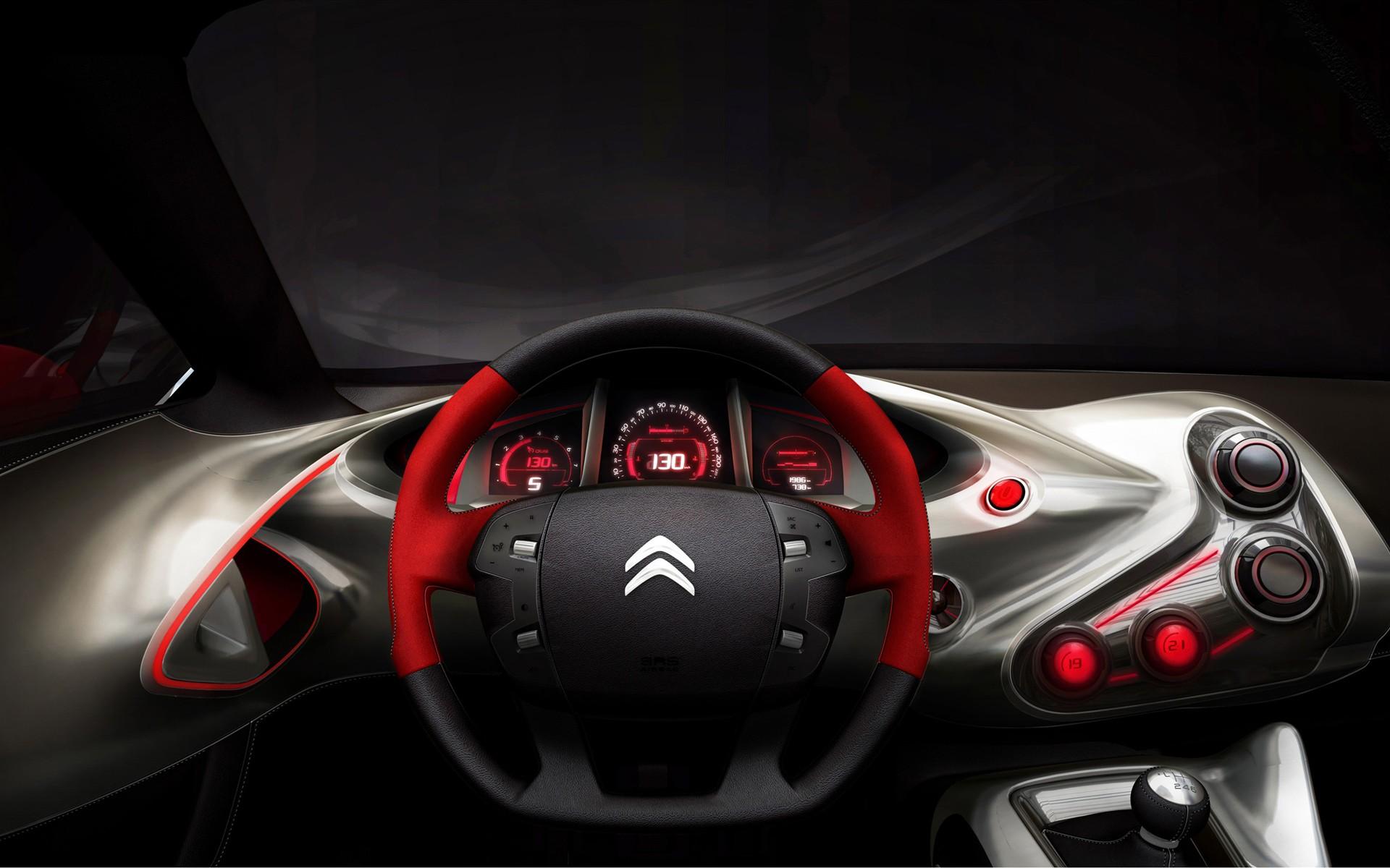 concept, Citroen, приборная доска, руль, салон машины, скачать фото, в высоком разрешении