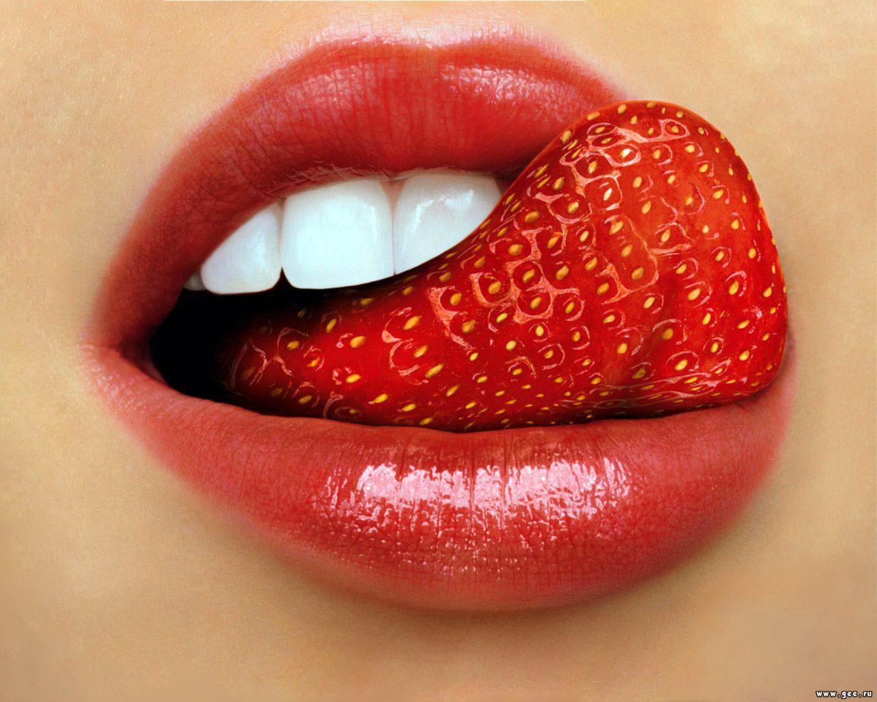 Клубника, язык, красный, обои для рабочего стола