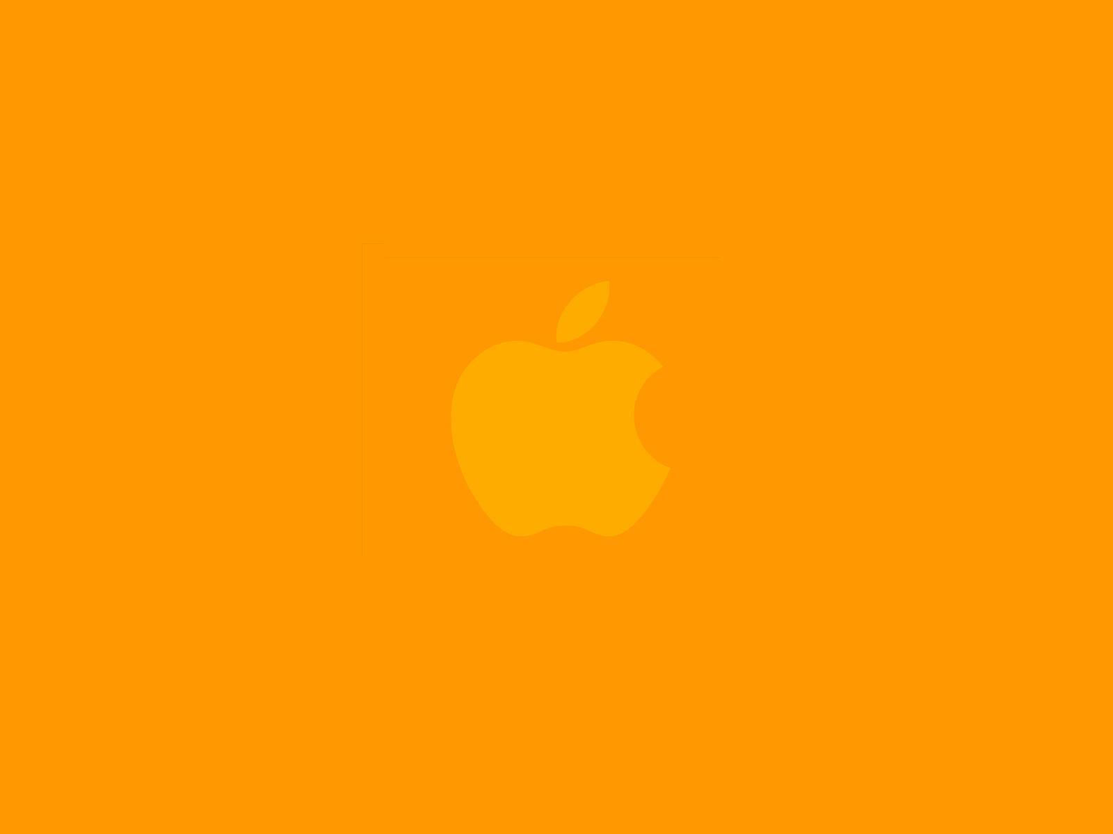 apple оранжевые обои для рабочего стола
