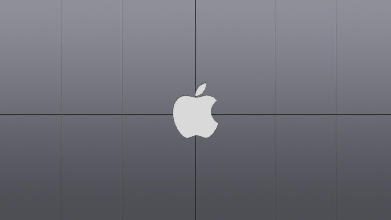 apple, яблоко, серые обои для рабочего стола