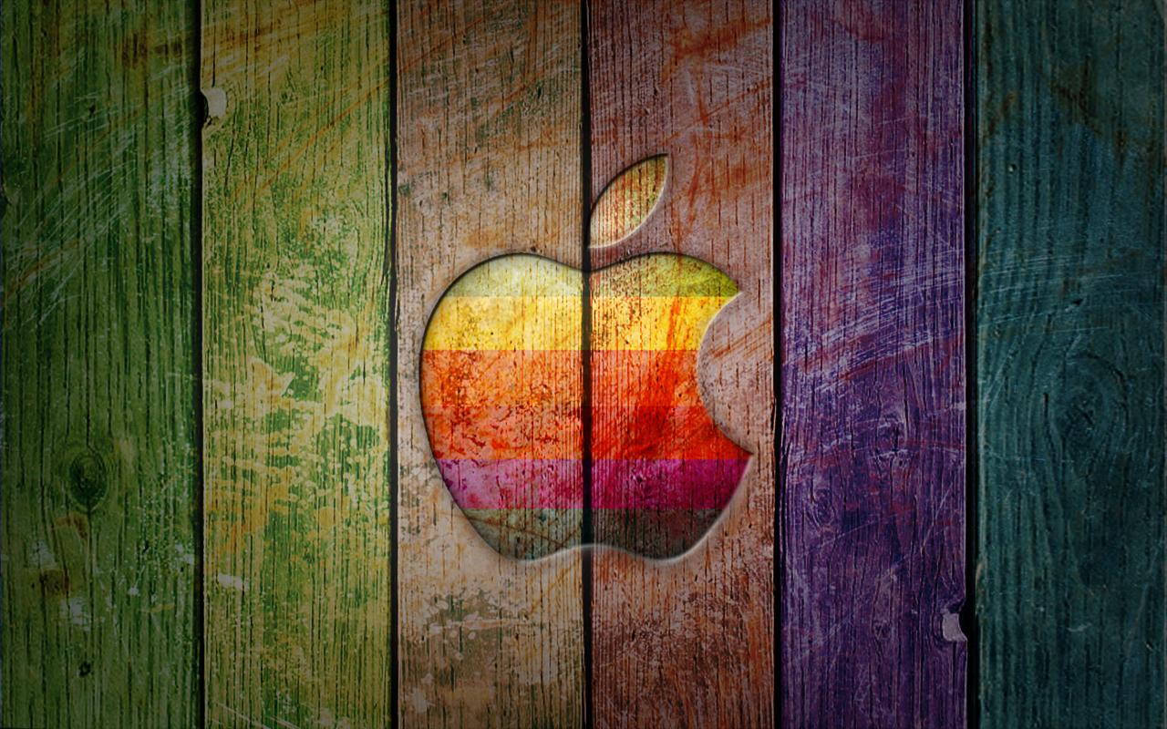 обои, apple, радуга, дерево
