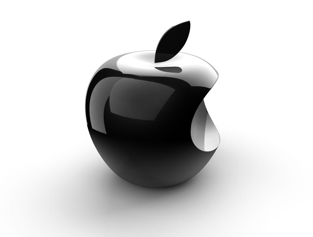 черное надкусанное яблоко