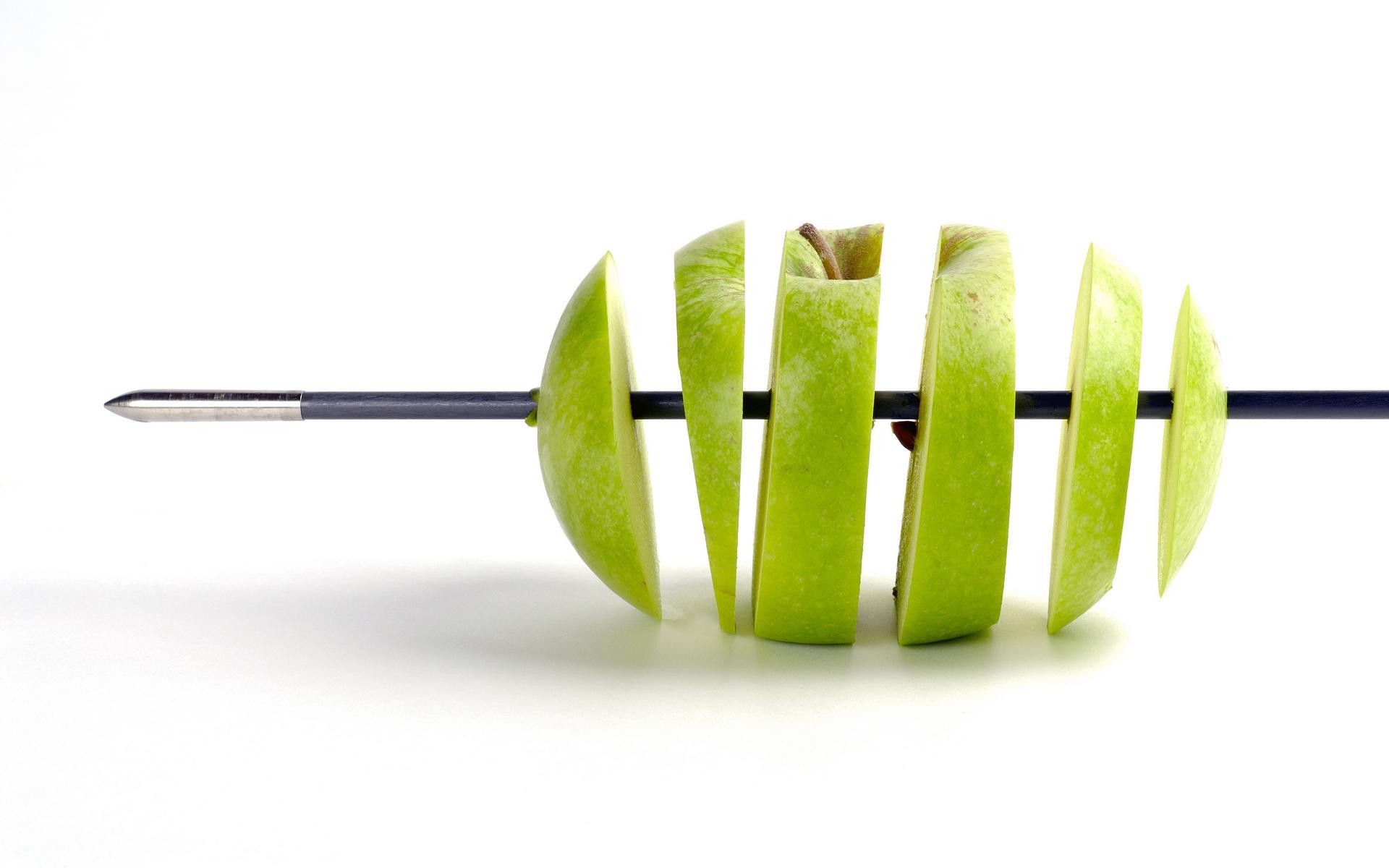 разрезанное зеленое яблоко, обои, скачать