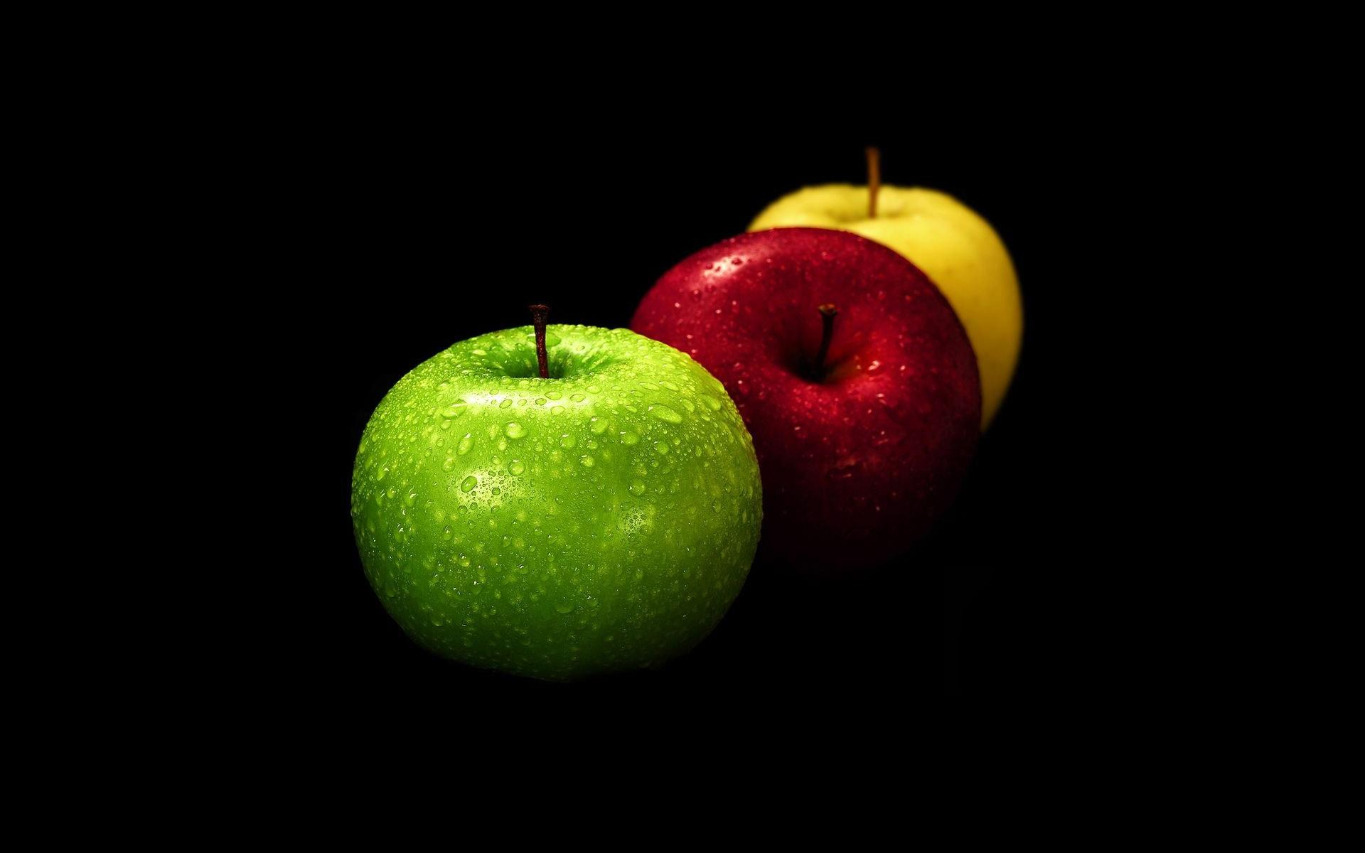 яблоки на черном фоне, обои на рабочий стол