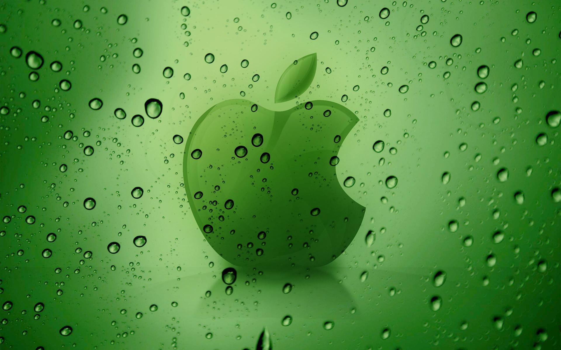 обои зеленое яблоко на зеленом фоне