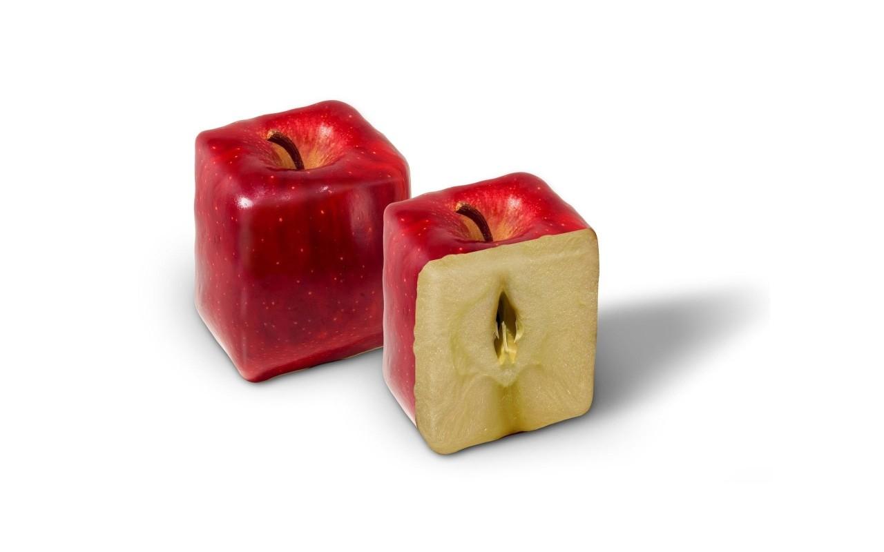Красные квдратные яблоки, обои