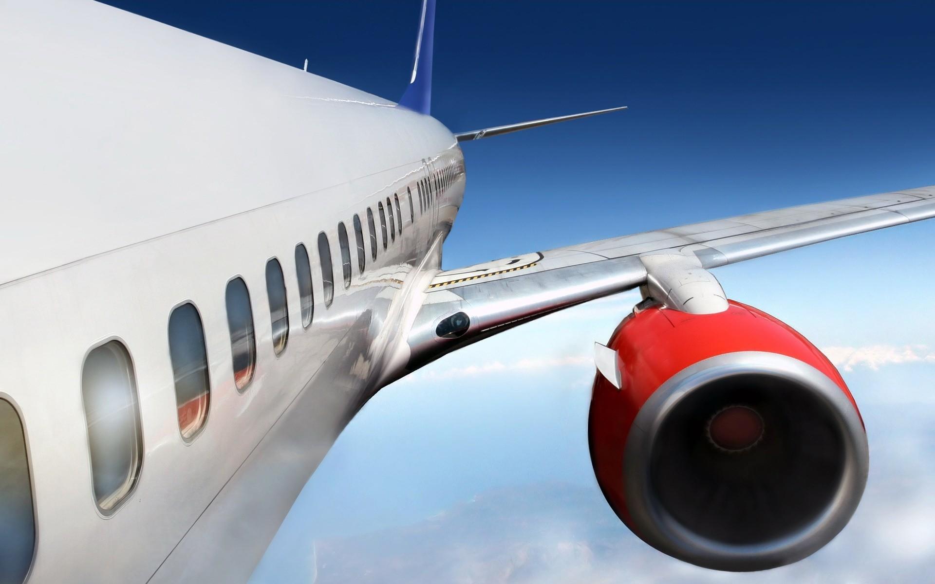 боинг, самолет в небе, облака, крыло, мотор