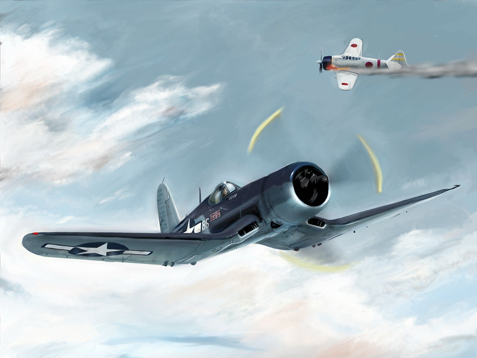 Самолеты, воздушный бой, обои