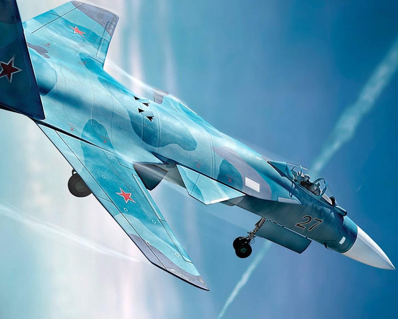 Русский истребитель в небе, МИГ, самолет, обои