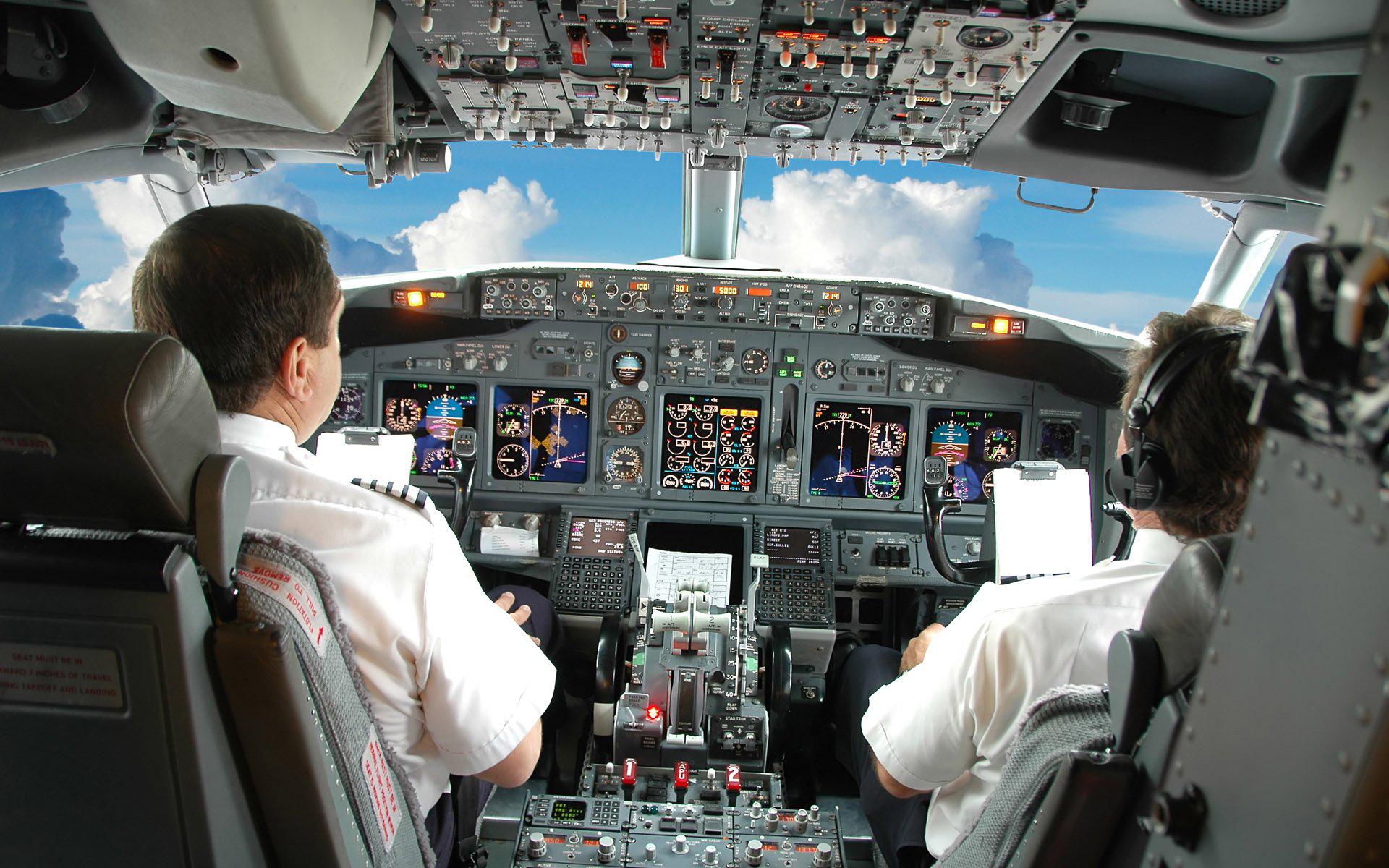 Самолет, кабина, Боинг, экипаж