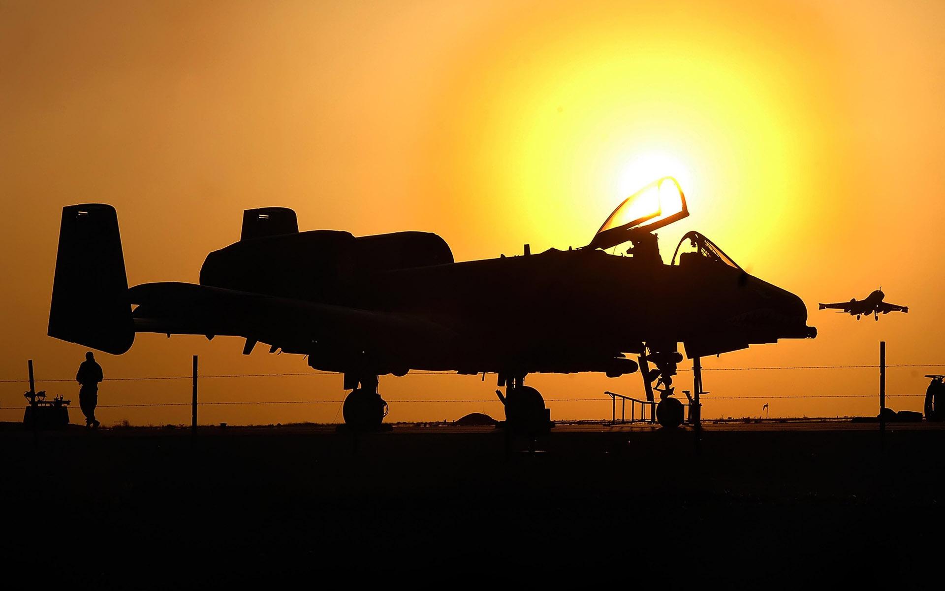 Закат, самолет, истребитель