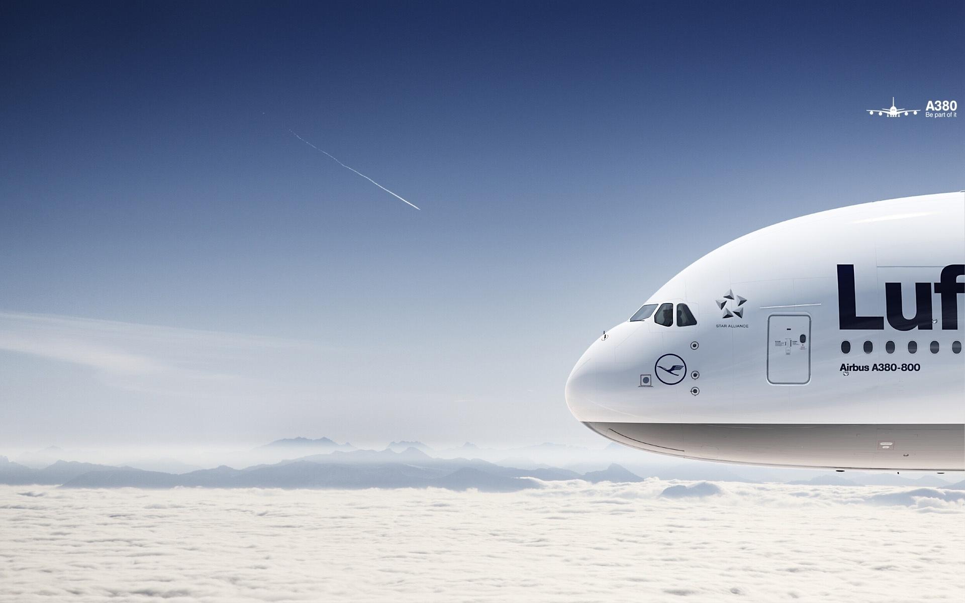 Самолет в небе, боинг, Lufhanza, обои на рабочий стол