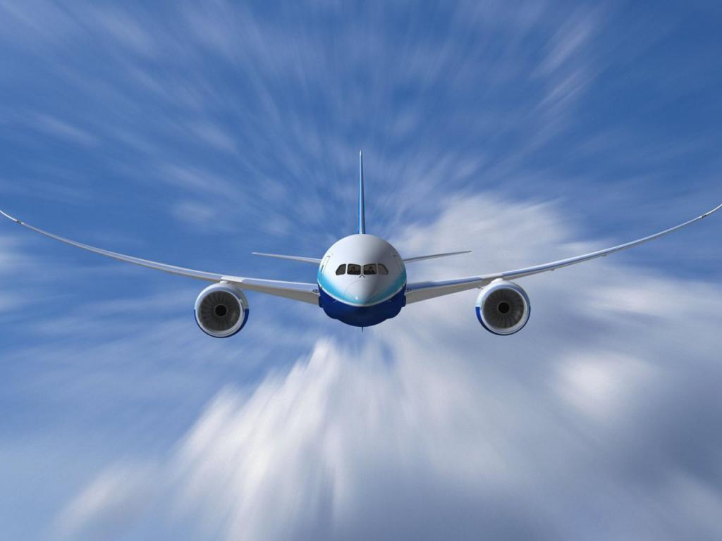 Самолет, боинг, облака, небо, обои для рабочего стола