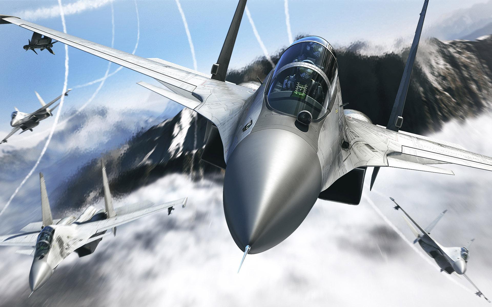 Истребитель в бою, самолет