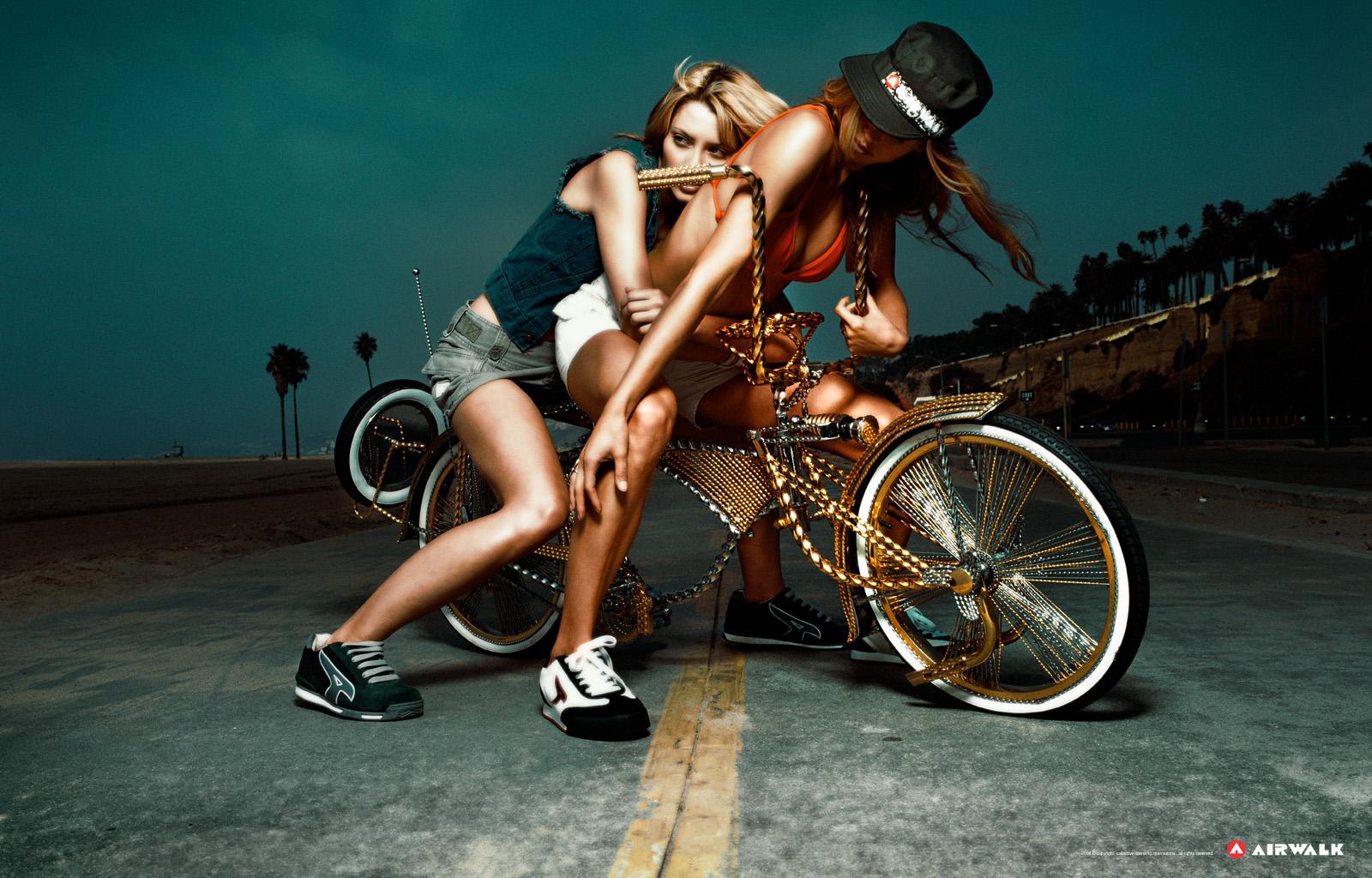 Девушки, велосиед, обои для рабочего стола