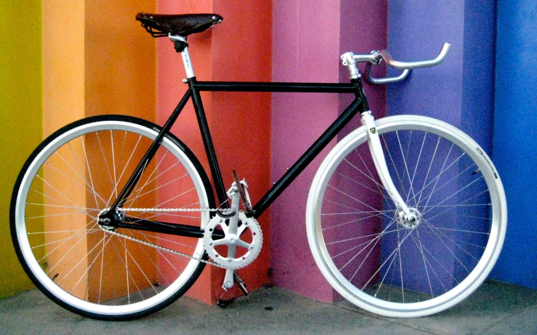 обои, велосипед, радуга для рабочего стола