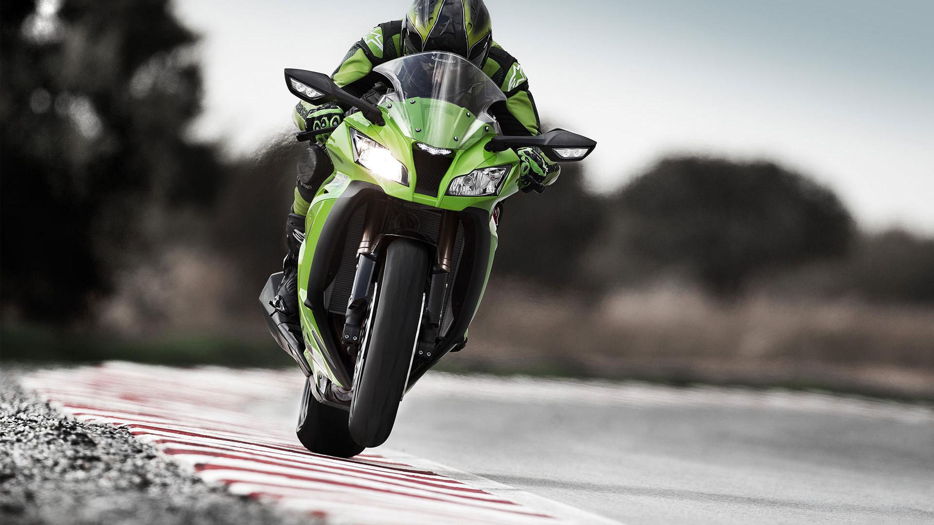 трасса, байк, зеленый мотоцикл, скорость