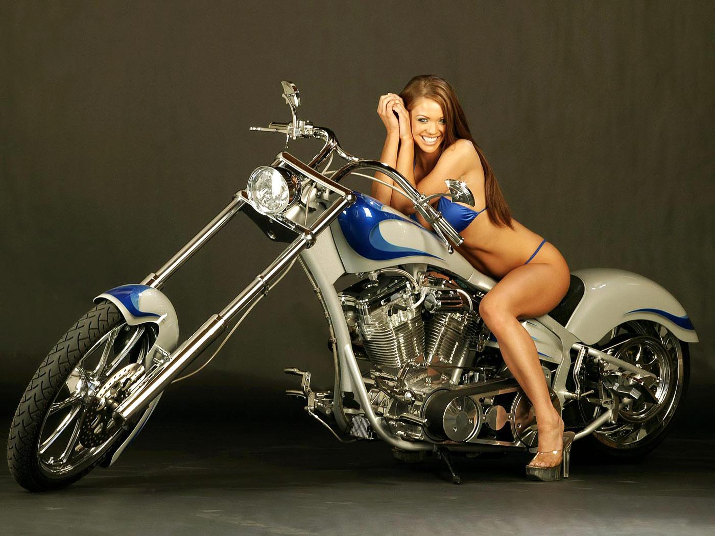 Девушка и мотоцикл, байк, фото обои