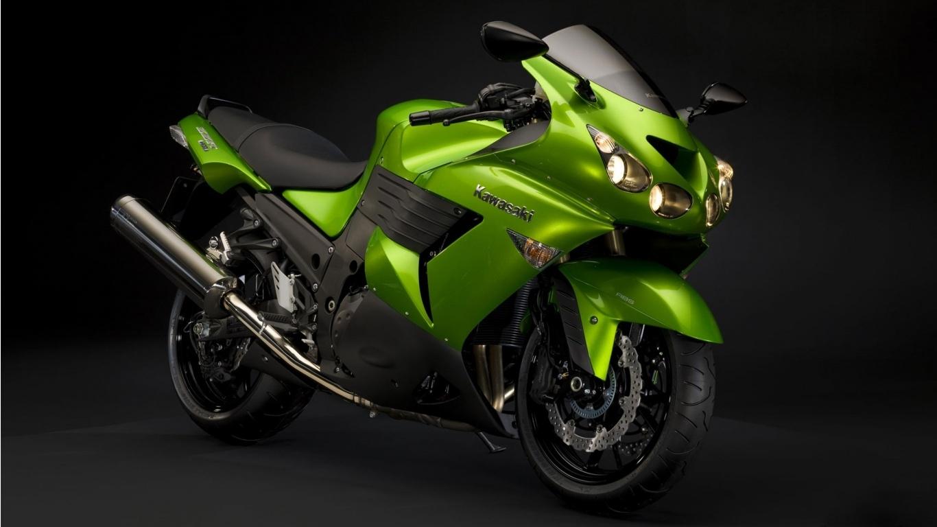 Зеленый байк, мотоцикл, фото обои