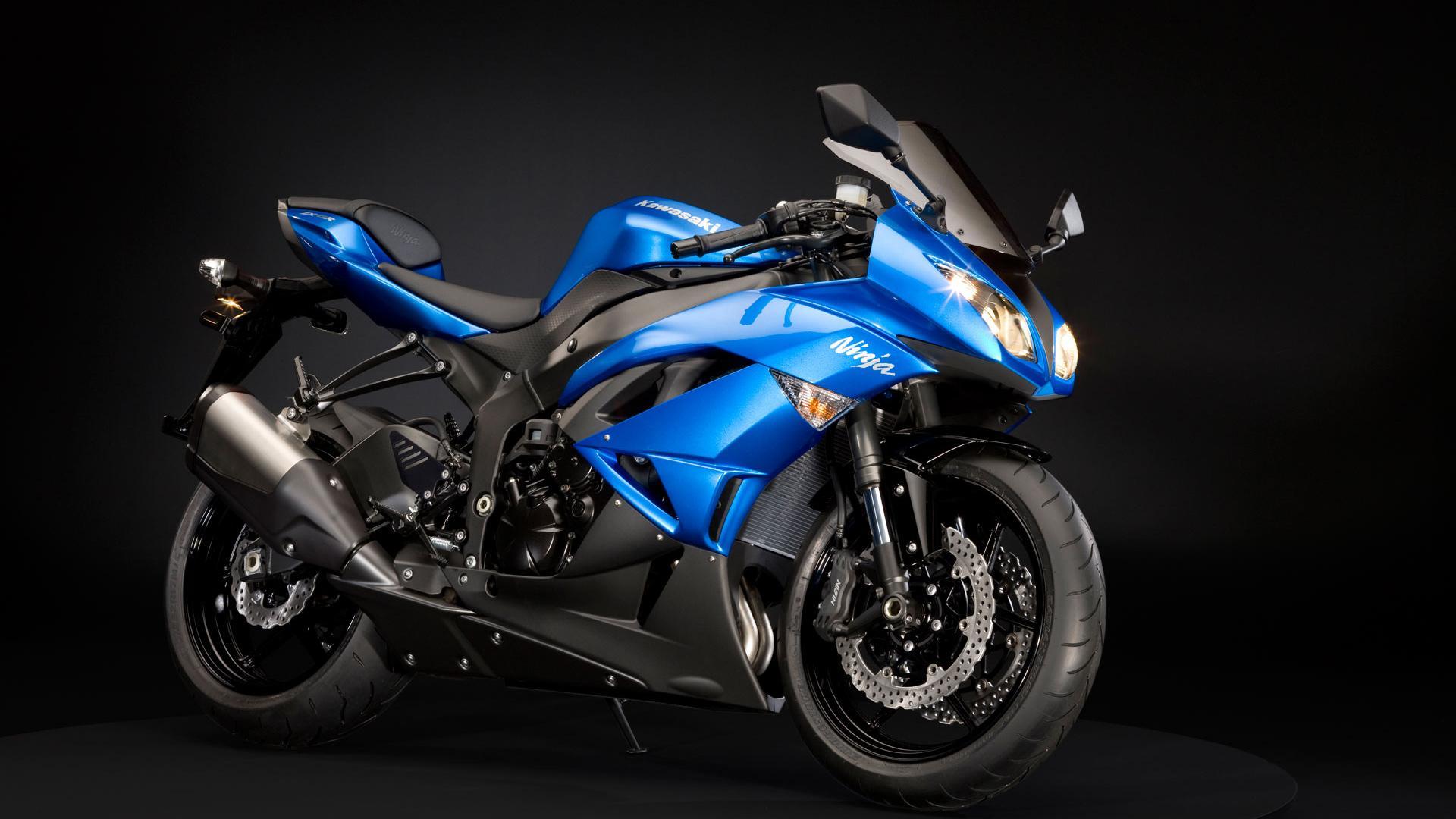 синий байк, мотоцикл, фото, обои