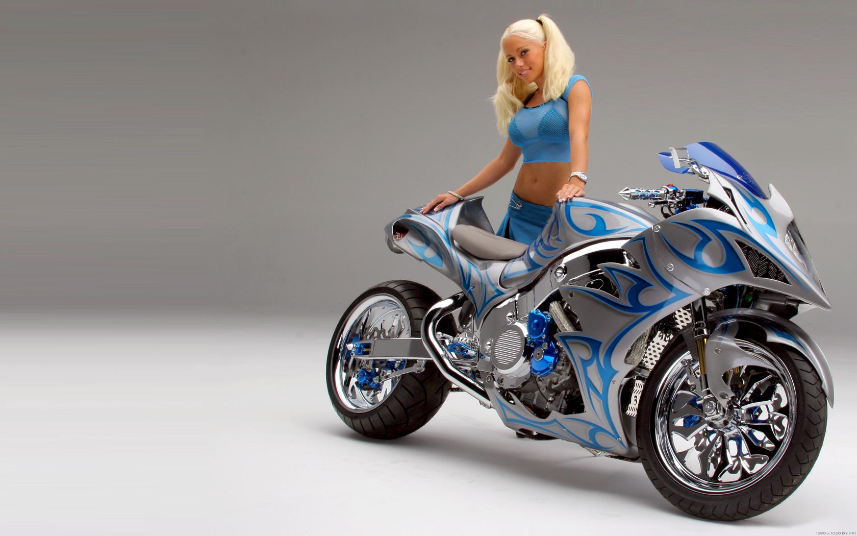 Обои для рабочего стола,девушка, мотоцикл, байк