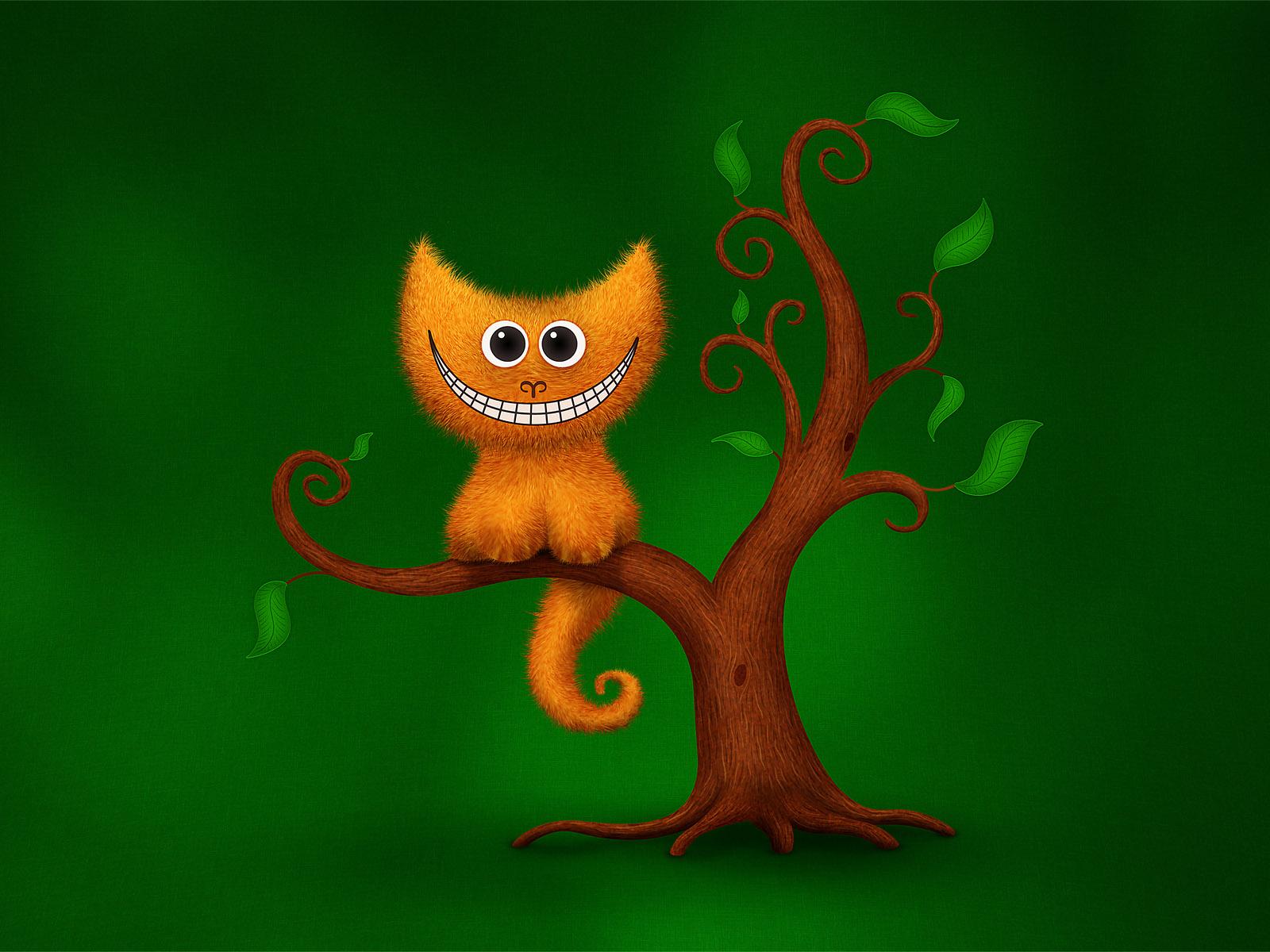 обои, рисунок, кошки, котенок на дереве, рыжий кот