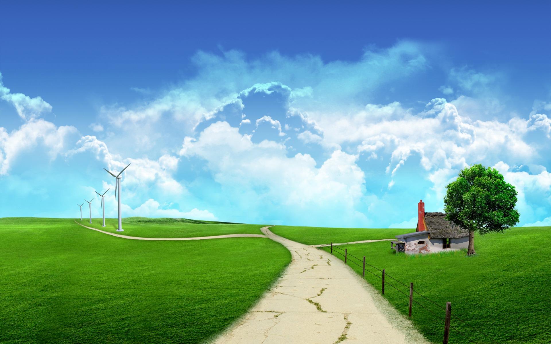 трава, дорога, дома, зеленая трава