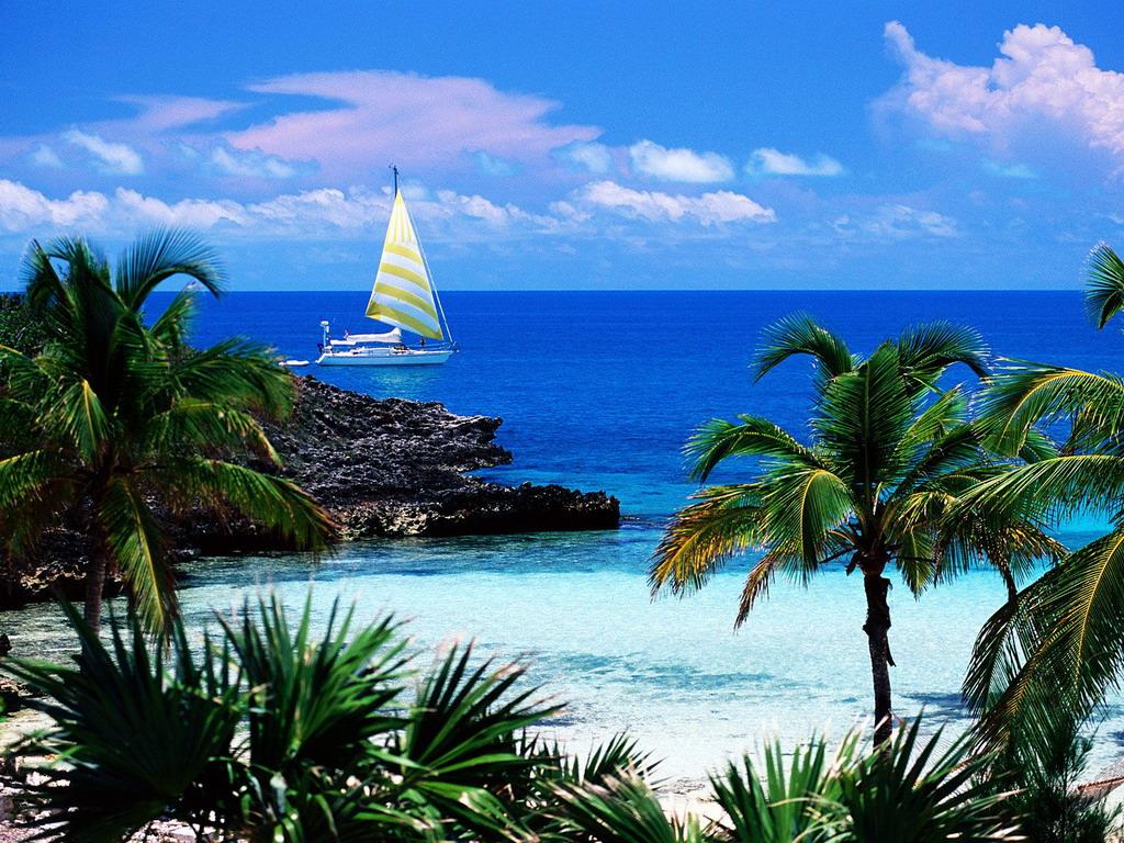 Яхта в бухте, море, пляж, обои на рабочий стол