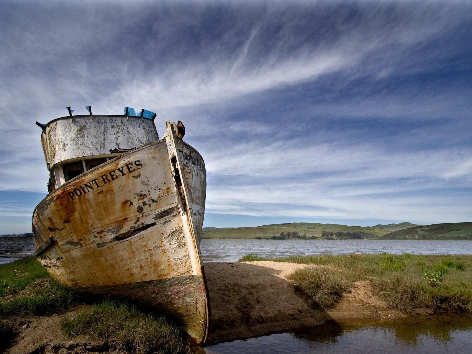 старый покинутый корабль, фото, обои на рабочий стол, скачать