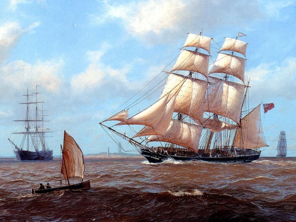Фрегат в море, парусный корабль, фото, обои для рабочего стола