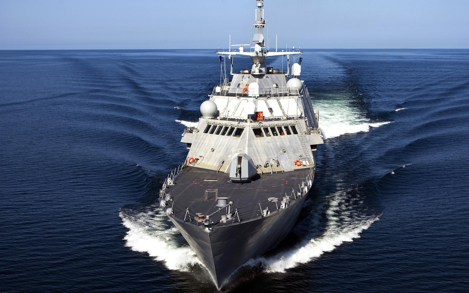 Фрегат, большой корабль в море, волны, корабли, обои