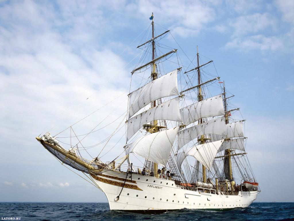 Белый фрегат в море, парусник, парусный корабль, обои на рабочий стол
