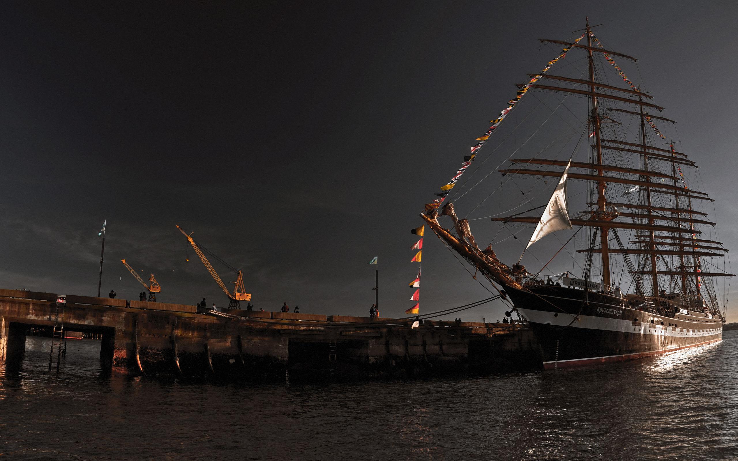 корабль парусный сумерки, море, обои на рабочий стол
