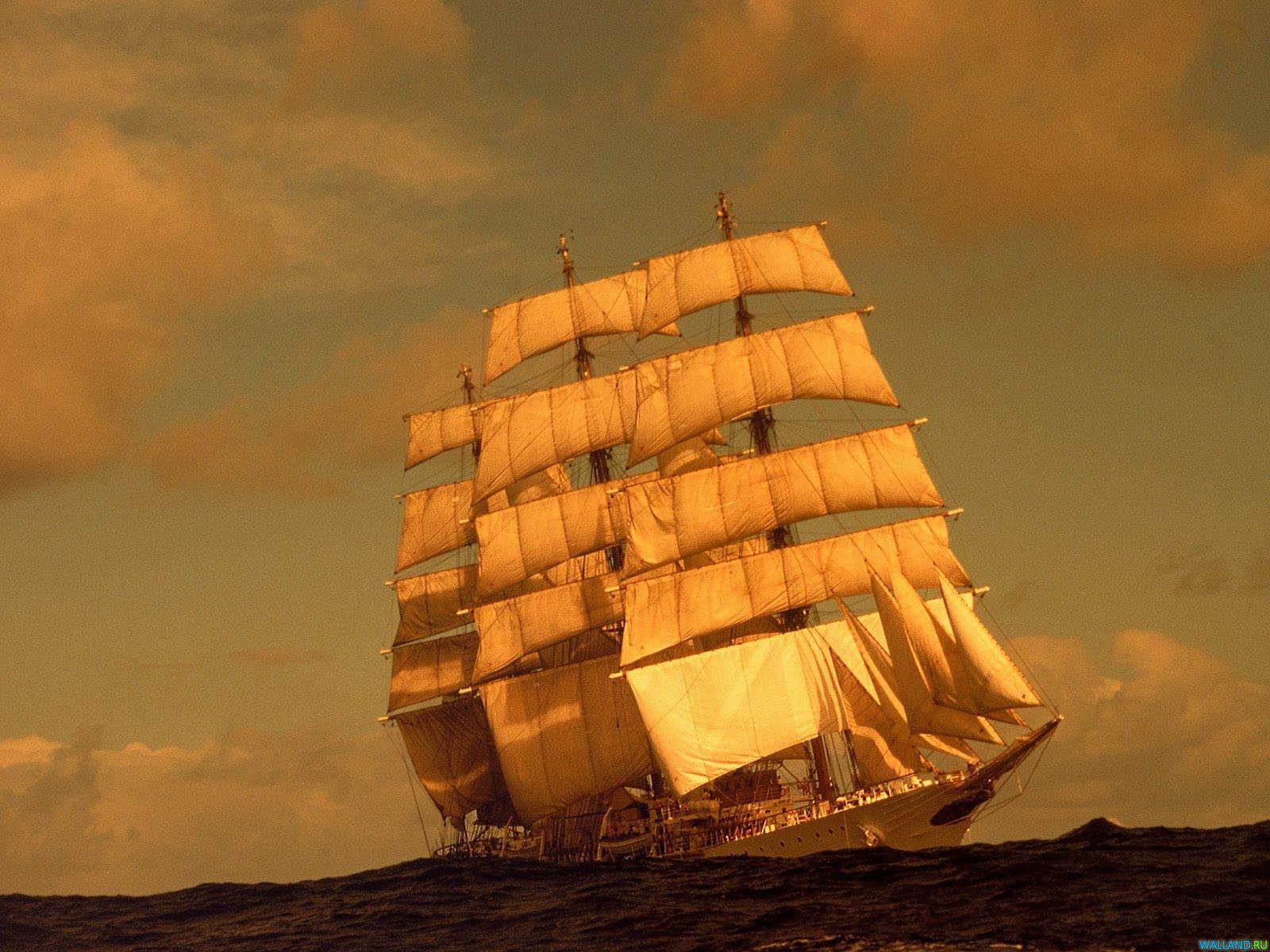 парусный корабль, бриг, море, закат, фото кораблей, обои для рабочего стола
