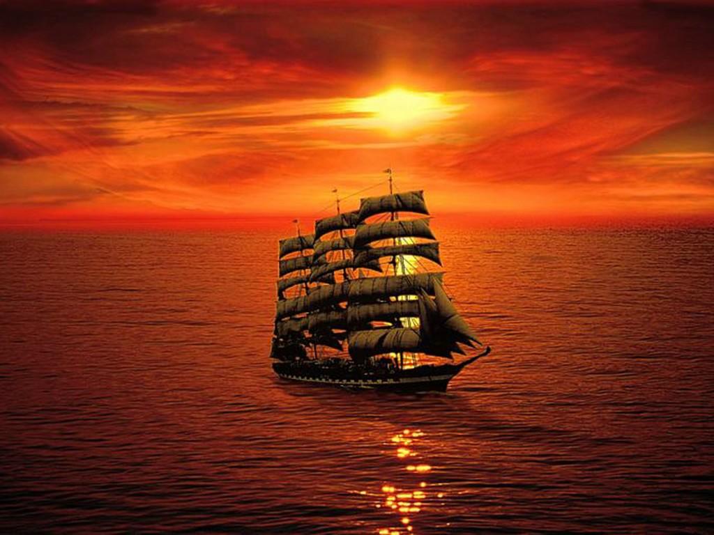 Закат, море, штиль, парусный корабль, обои на рабочий стол