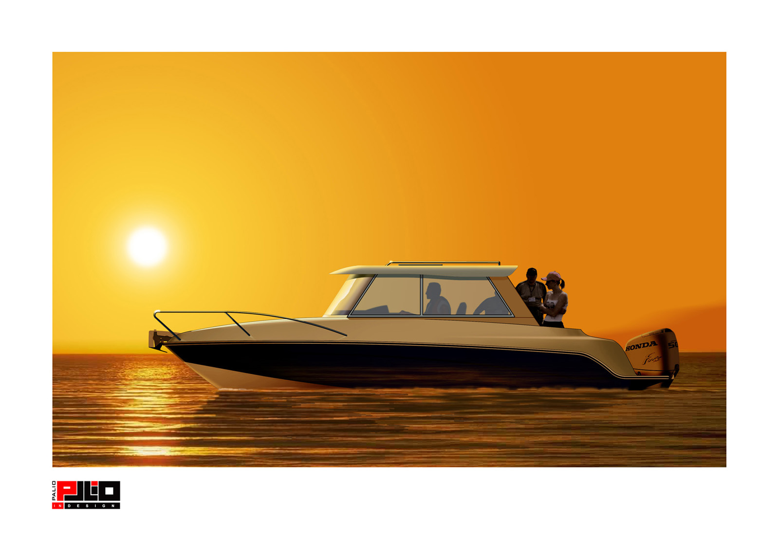 Закат и море, яхта, корабль