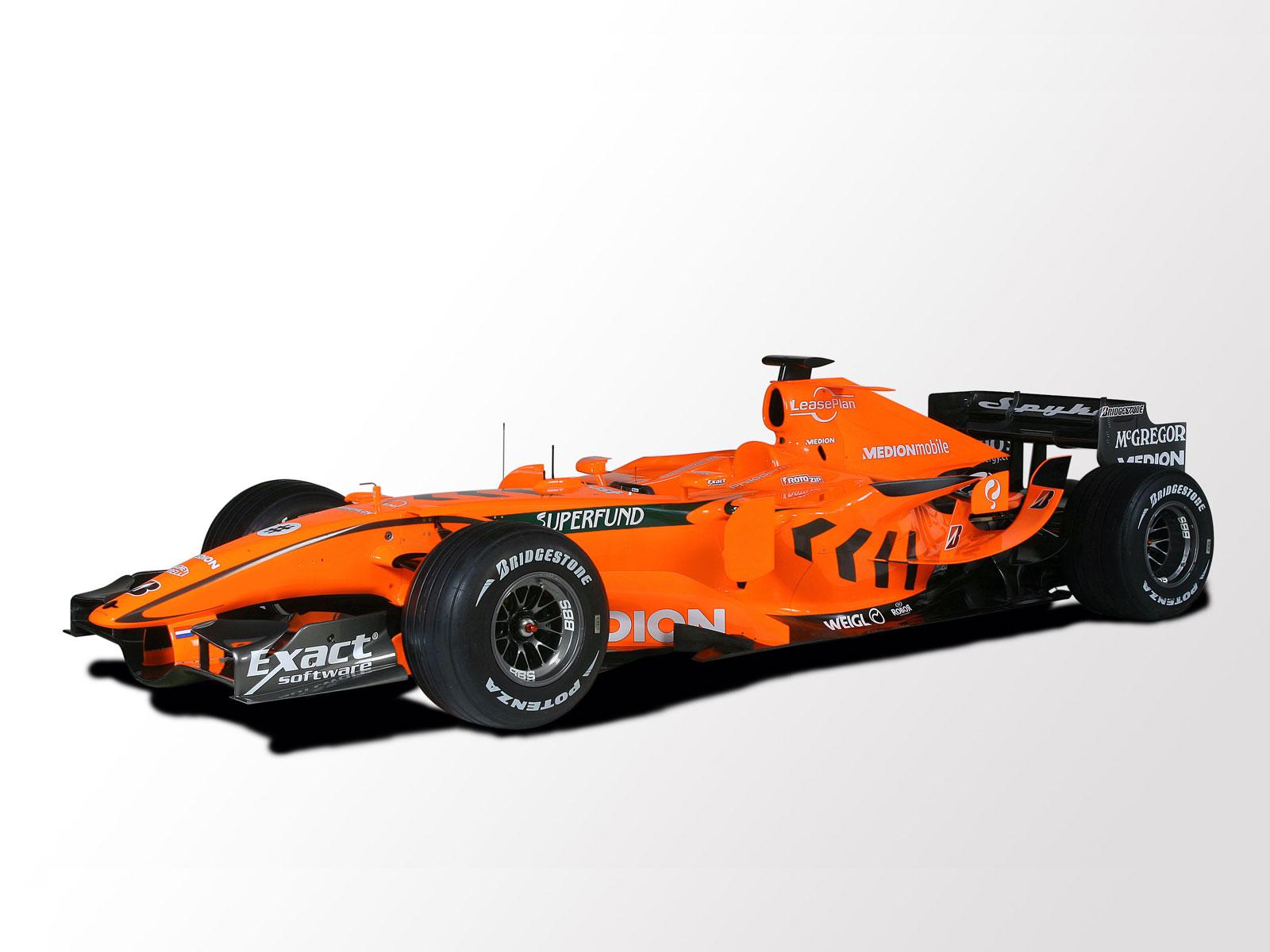 Оранжевый болид, машина формула один, гонка на рабочий стол
