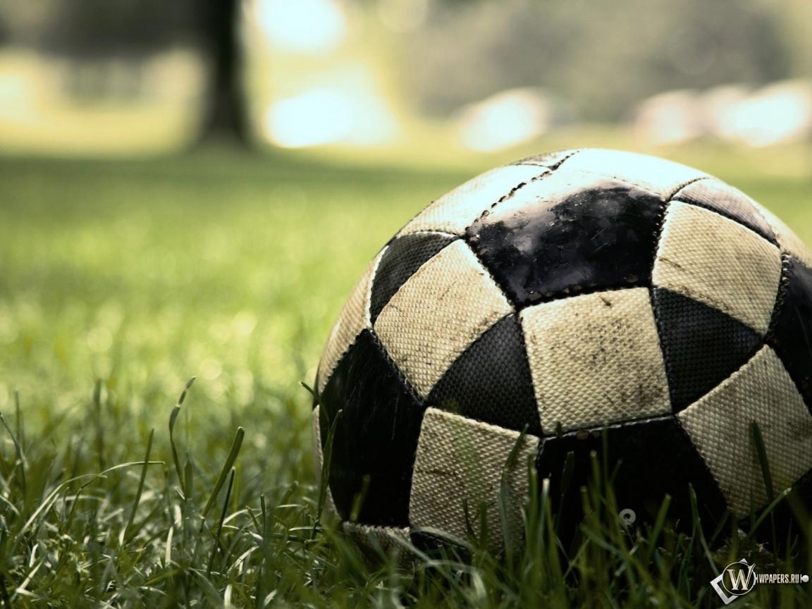 футбольный мяч на траве, футбол, обои для рабочего стола