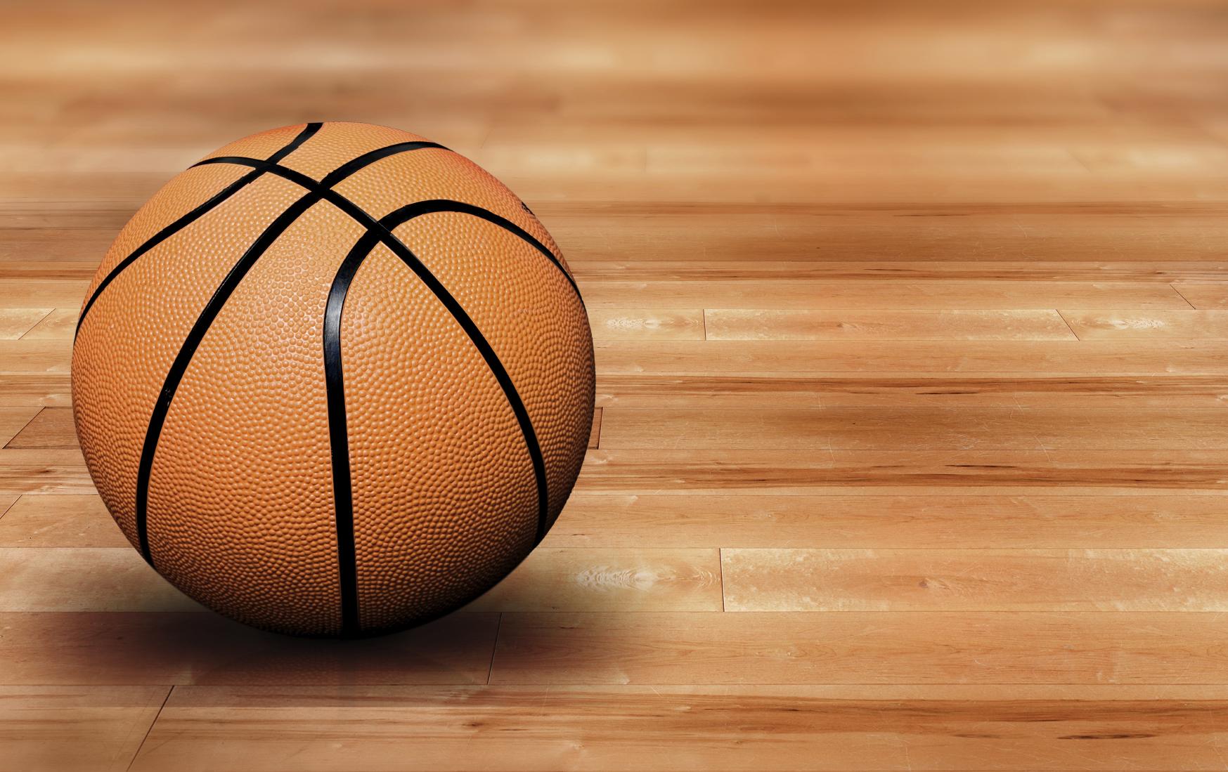 Баскетбольный мяч на полу, фото, обои для рабочего стола, basketball