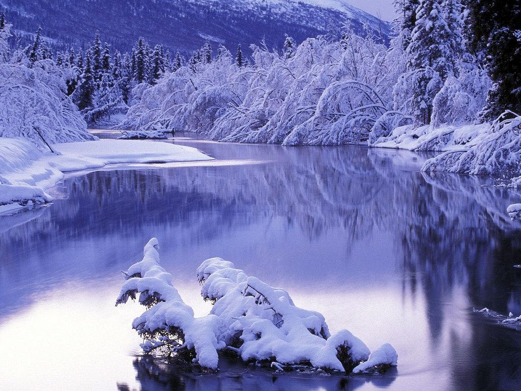 Зима, снег, озеро, сугробы, обои для рабочего стола, скачать