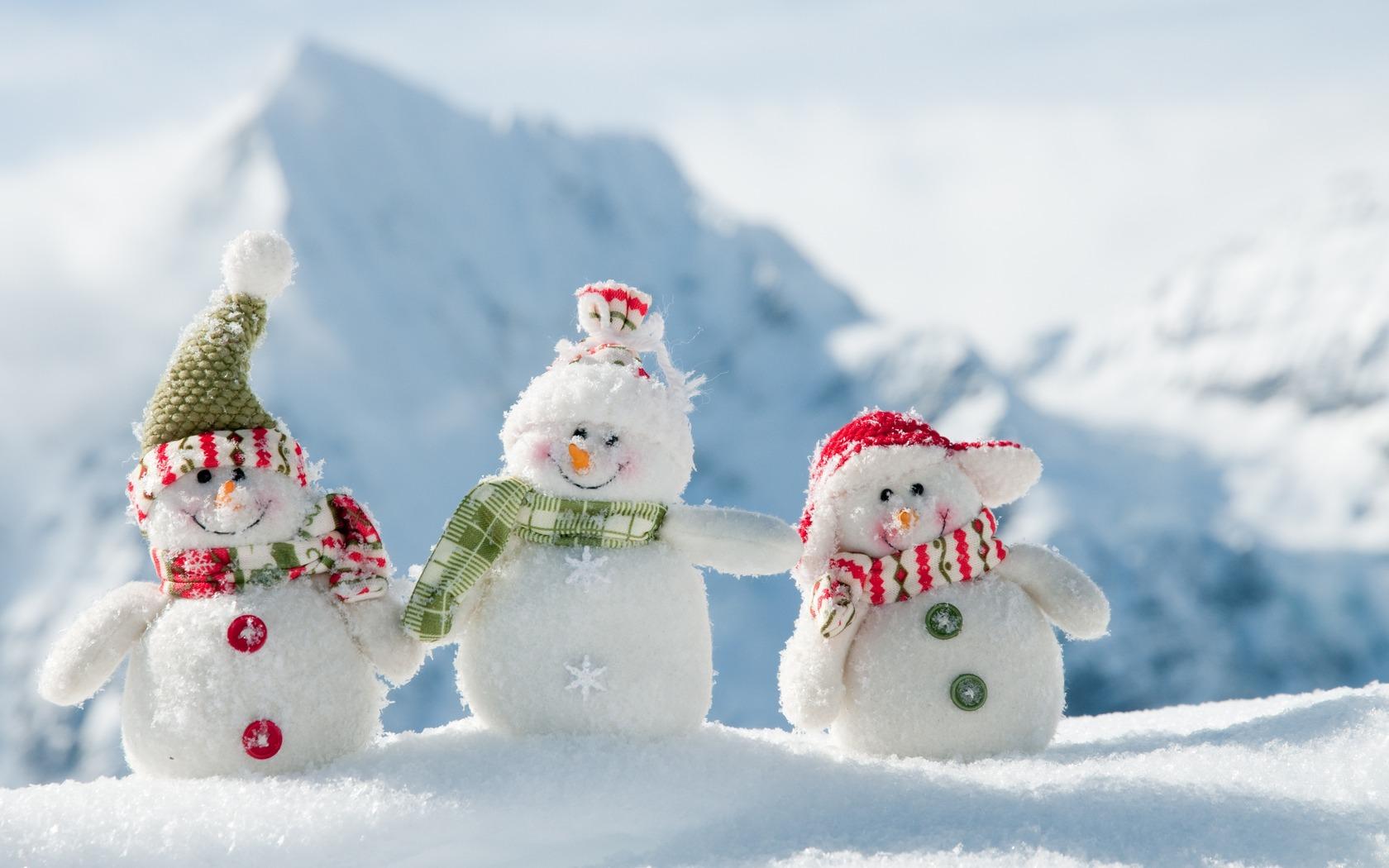 Снеговики, снег, обои, для рабочего стола