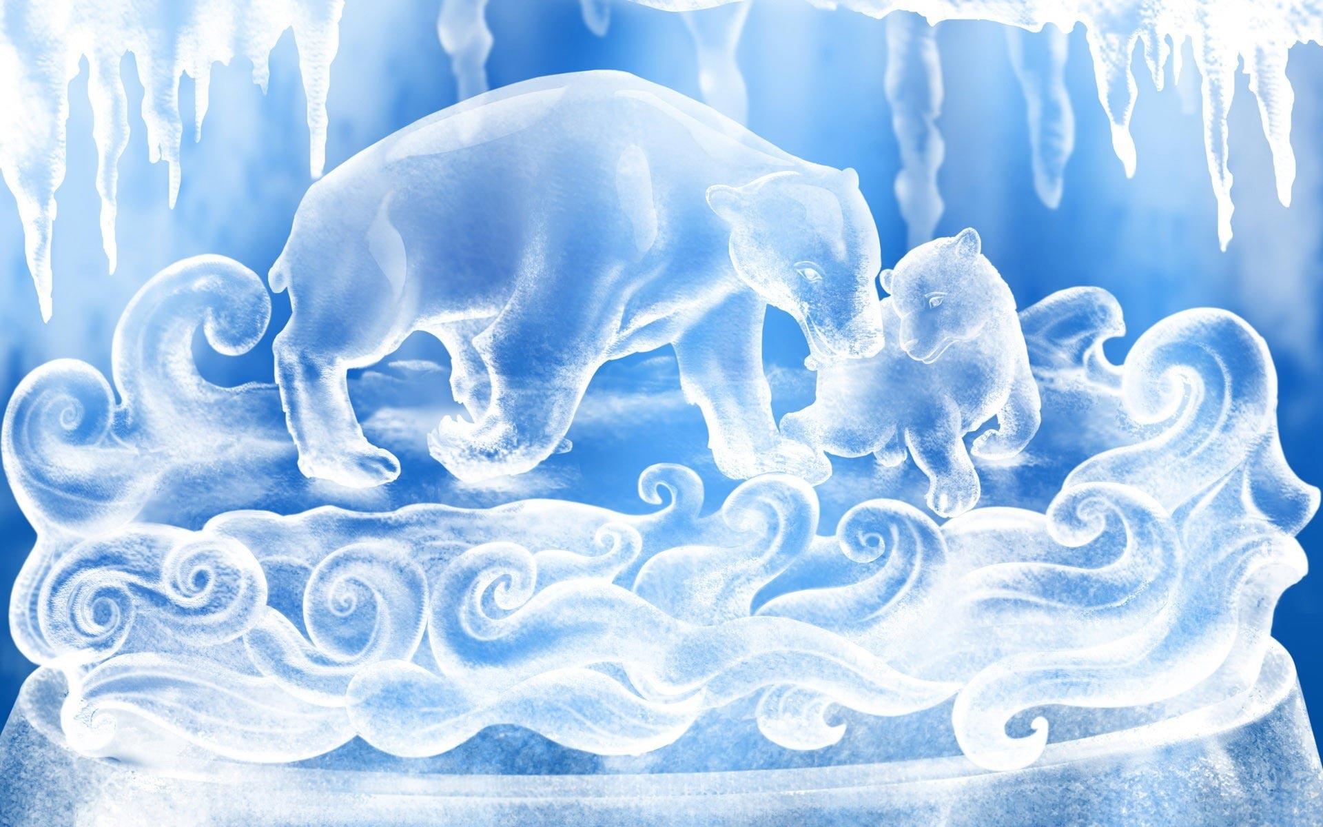 зима, медведи, обои для рабочего стола, фото