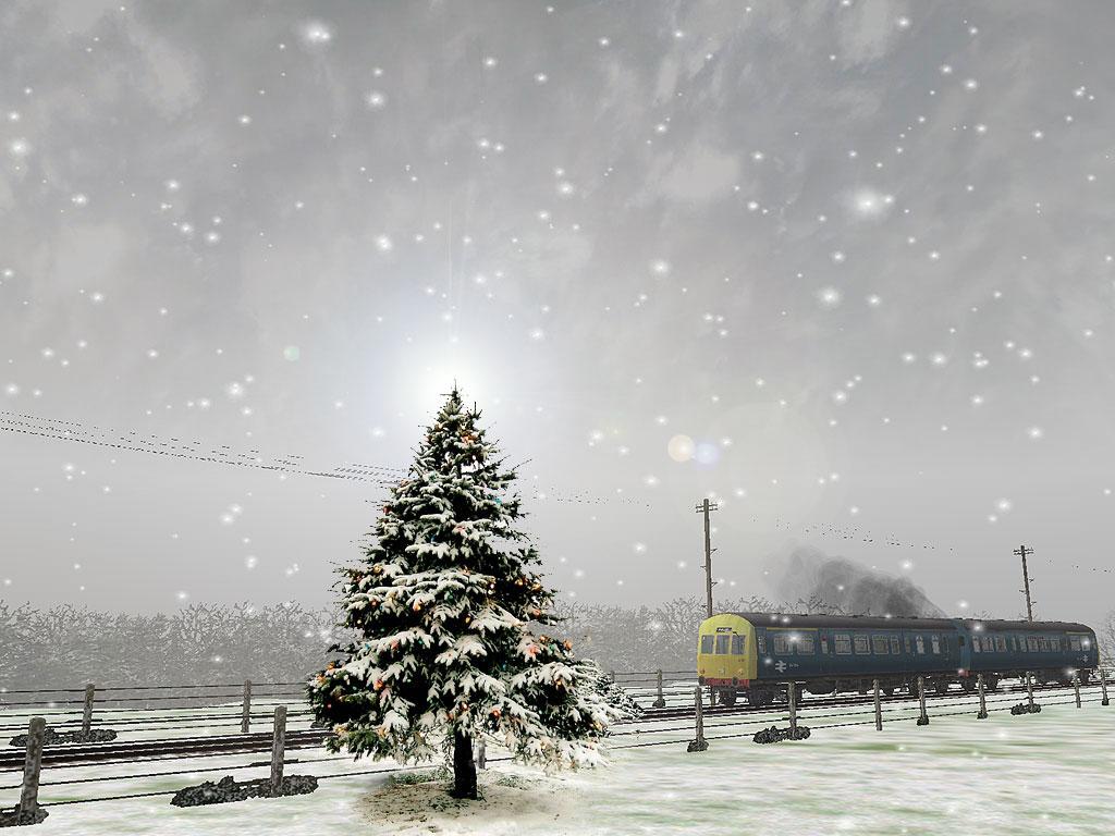 елка, поезд, снег, зима, скачать обои для рабочего стола