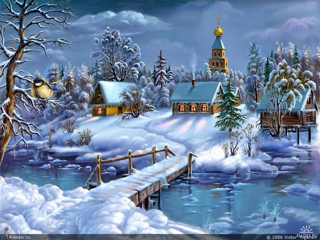 Зима, снег, сугробы, деревня, скачать фото