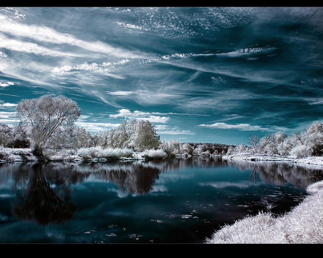 Зима, озеро, снег, мороз, обои для рабочего стола