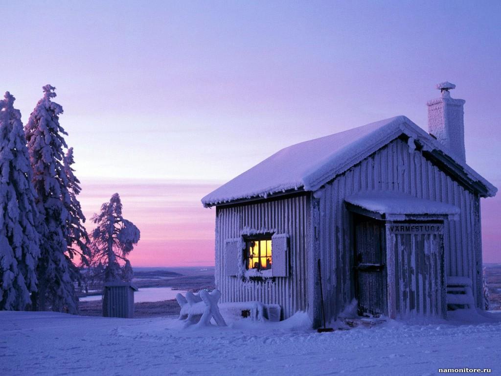 Дом в снегу, зима, скачать фото, обои на рабочий стол