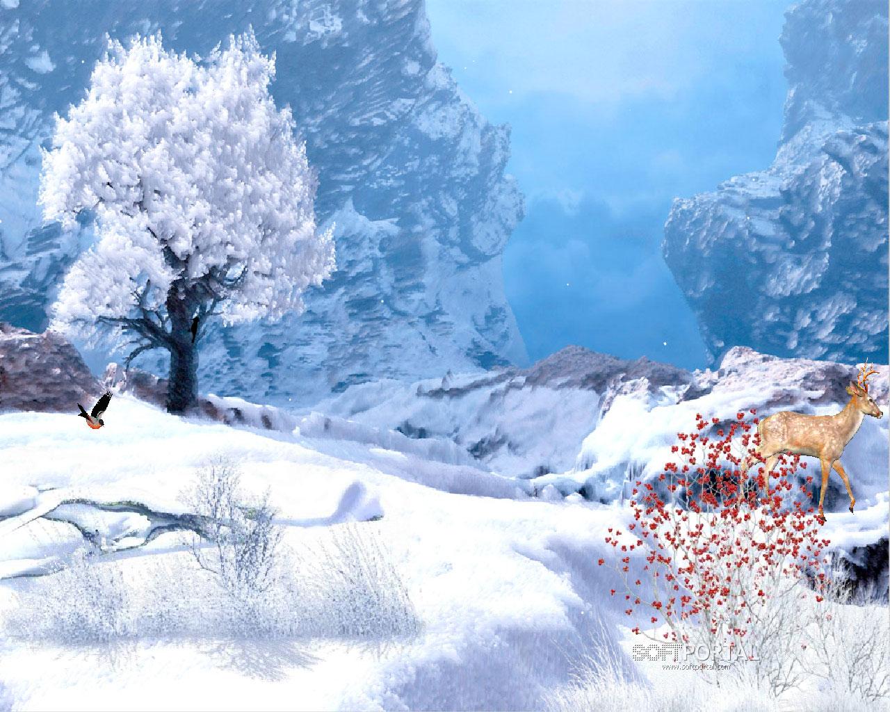 снег, дервео, лес, обои