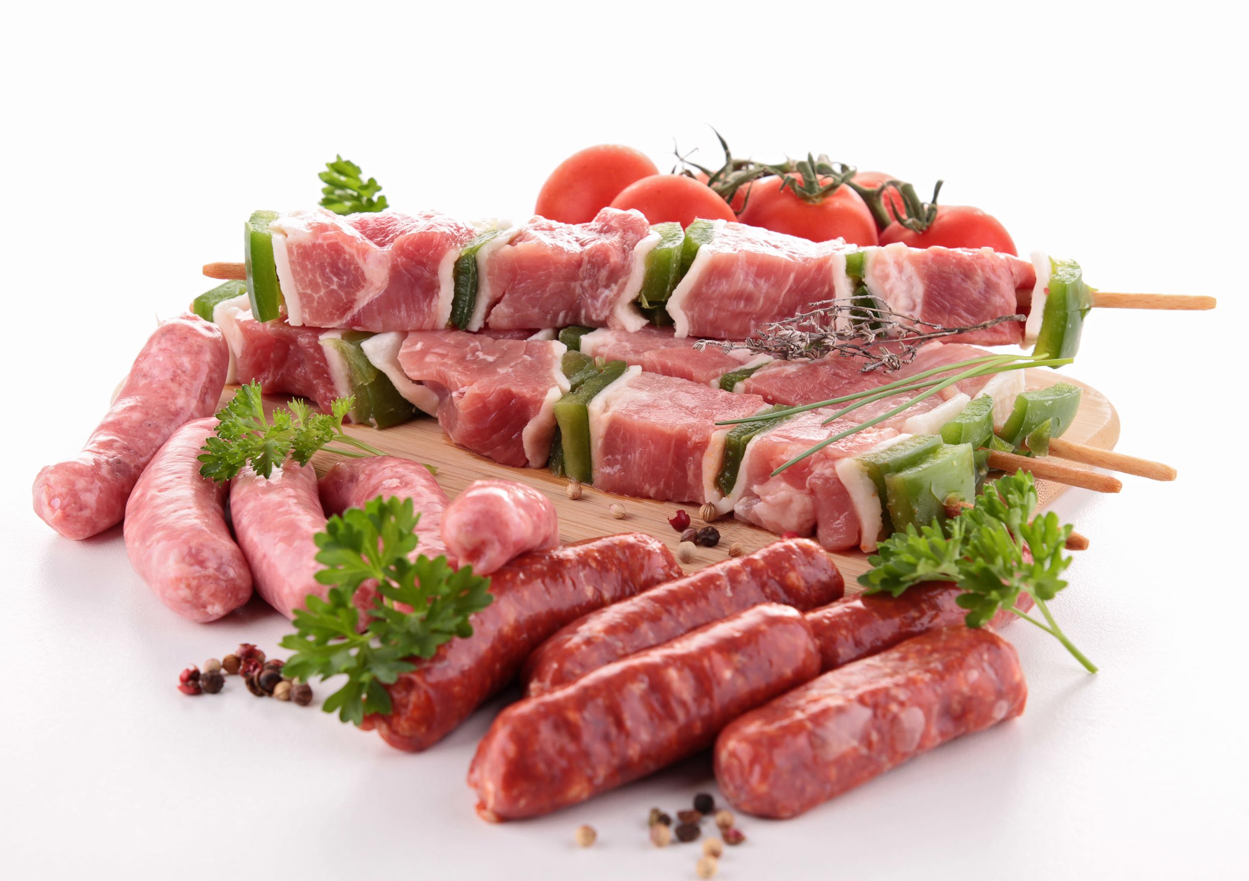 Свежее мясо на шпажках, шашлык, фото, обои для рабочего стола