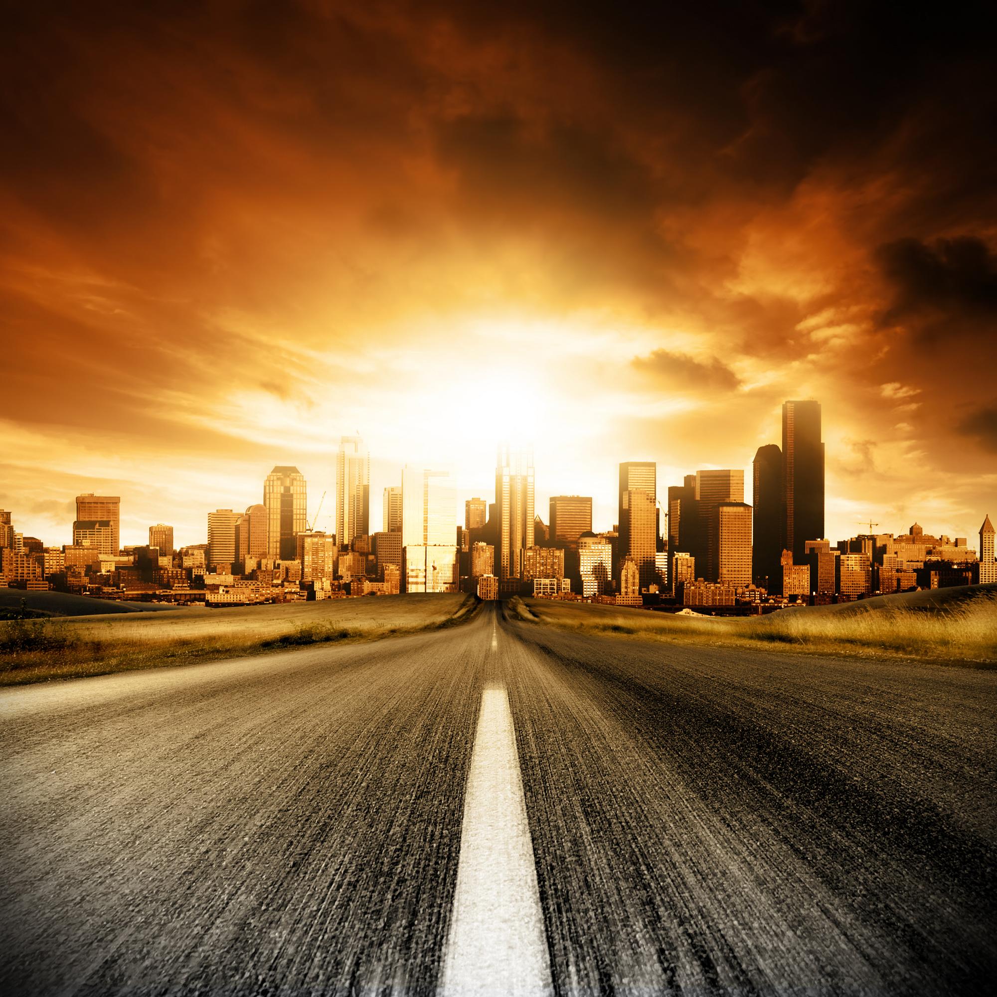 Дорога, закат, солнце, полк, шоссе, город, обои для рабочего стола