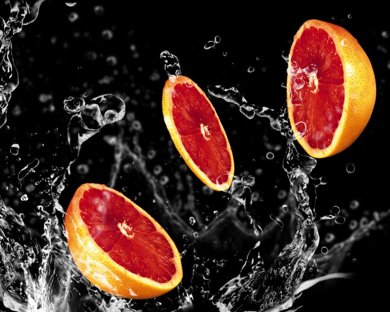 разрезанный красный апельсин, фото, обои, скачать, для рабочего стола